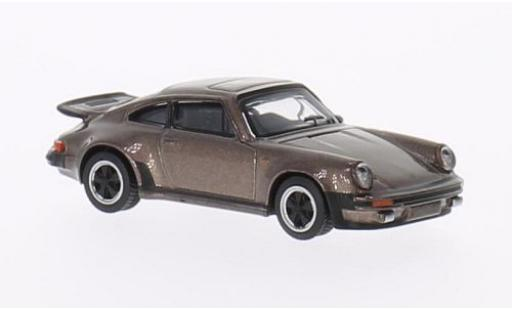 Porsche 911 1/64 Schuco Turbo 3.0 metallise marron miniature