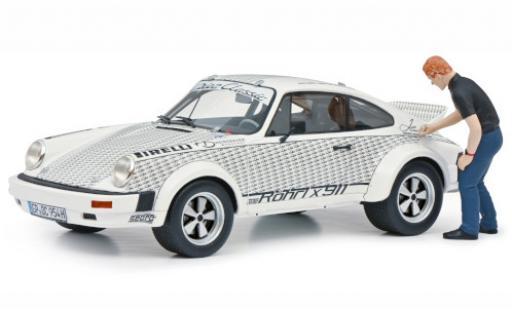 Porsche 911 1/18 Schuco ProR Röhrl x white/Dekor avec figurine diecast model cars
