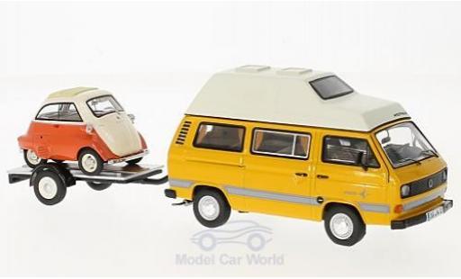 Volkswagen T3 1/43 Schuco Westfalia Joker jaune/orange mit Anhänger und Bmw Isetta miniature