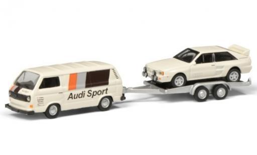 Volkswagen T3 1/87 Schuco b Kasten Audi Sport avec remorque et Audi quattro modellino in miniatura