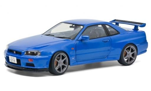 Nissan Skyline 1/18 Solido GT-R (R34) metallise blue RHD 1999 diecast model cars