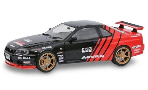 Nissan Skyline 1/18 Solido GT-R (R34) black/red RHD Advan 1999 diecast model cars