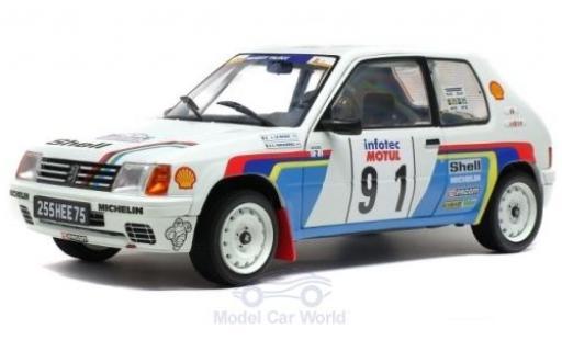 Peugeot 205 1/18 Solido Rallye No.91 Rallye WM Rallye Tour de Corse 1989 J.Le Bihan/S.Kervarrec miniature