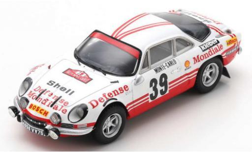 Alpine A110 1/43 Spark No.39 Defense Mondiale Rally Monte Carlo 1973 C.Ballot-Lena/J.C.Morenas coche miniatura