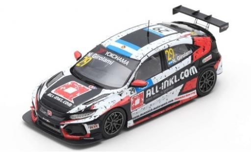 Honda Civic 1/43 Spark Type R TCR No.29 Münnich Motorsport ALL-INKL.-COM WTCR Hungaroring 2019 N.Girolami miniature