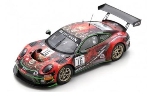 Porsche 992 GT3 R 1/43 Spark 911 (991) No.16 Modena Motorsports 24h Spa 2019 J.Shen/P.Descombes/B.Simonsen/M.Beche modellino in miniatura