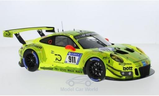 Porsche 991 GT3 R 1/18 Spark 911  No.911 Manthey Racing 24h Nürburgring 2018 K.Estre/R.Dumas/L.Vanthoor/E.Bamber miniature