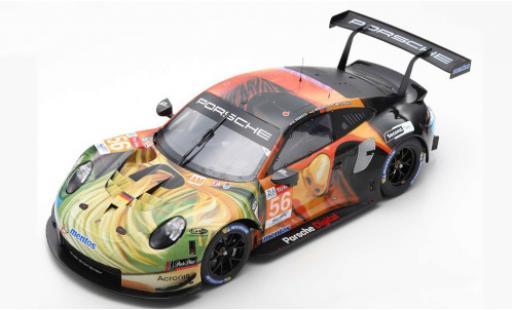 Porsche 992 RSR 1/12 Spark 911 (991) No.56 Team Project 1 24h Le Mans 2019 J.Bergmeister/P.Lindsey/E.Perfetti coche miniatura