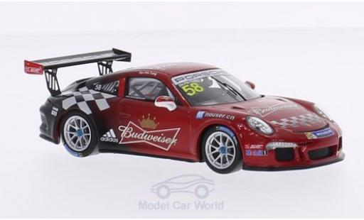 Porsche 991 GT3 Cup 1/43 Spark 911 (997) No.58 Team Absolute Racing Budweiser Carrera Cup Asia 2015 H.-P.Tung diecast model cars