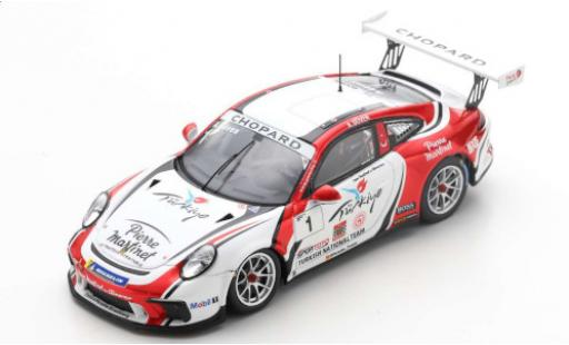 Porsche 992 GT3 1/43 Spark 911 Cup (997) No.1 Turkish National Team Chopard Carrera Cup France 2019 A.Güven miniature