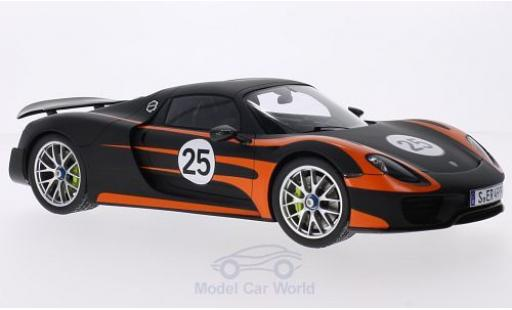 Porsche 918 1/18 Spark Spyder black/orange Weissach-Paket diecast