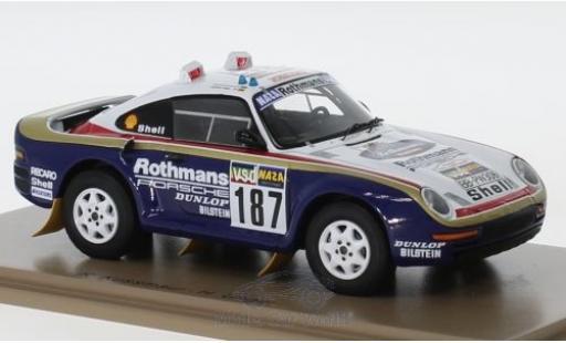 Porsche 959 1/43 Spark No.187 Rothmans Rallye Paris Dakar 1986 R.Kussmaul/H.Unger miniature