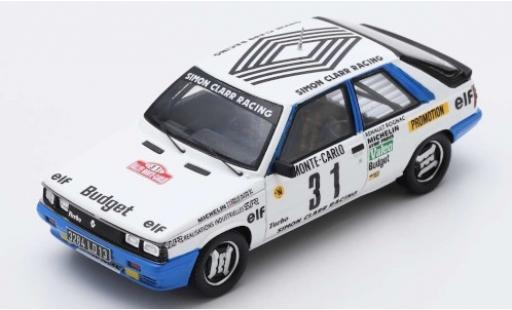 Renault 11 1/43 Spark Turbo No.31 Simon Clarr Racing Rally Monte Carlo 1985 A.Oreille/S.Oreille miniature