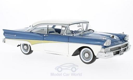 Ford Fairline 1958 1/18 Sun Star Failane 500 HardTop metallise bleue/blanche Around The World miniature