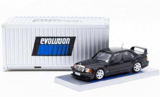 Mercedes 190 1/64 Tarmac Works E 2.5-16 Evolution II metallise black mit Vitrine in Containerdesign diecast model cars