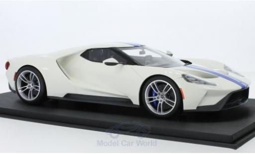 Ford GT 1/18 Top Speed blanche/bleue miniature
