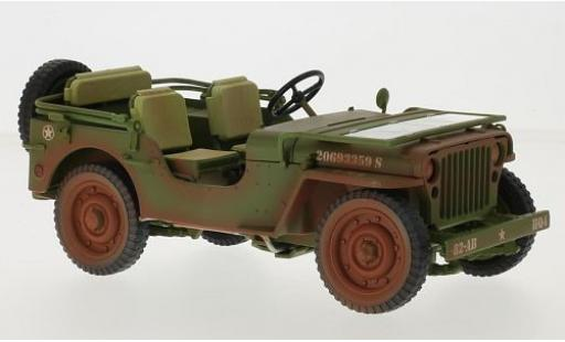 Jeep Willys 1/18 Triple 9 Collection matt-oliv/blanche U.S. Army 1942 avec traces d miniature