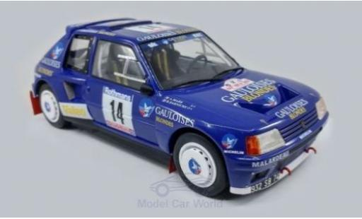 Peugeot 205 1/18 Triple 9 Collection T16 No.14 Gauloises Rallye WM Tour de Corse 1985 B.Darniche/A.Mahe diecast model cars