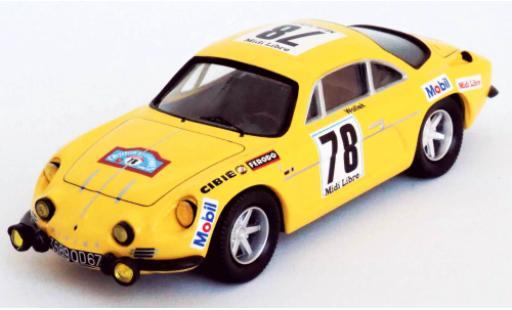 Alpine A110 1/43 Trofeu Renault No.78 Midi Libre Criterium des Cevennes 1969 B.Wollek/M.Grandrive diecast model cars