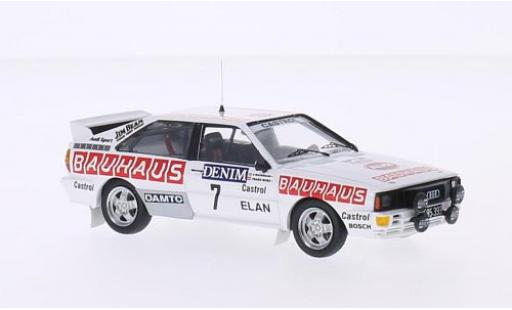Audi Quattro 1/43 Trofeu quattro No.7 Bauhaus Jänner Rally 1984 B.Waldegaard/F.Wurz modellino in miniatura