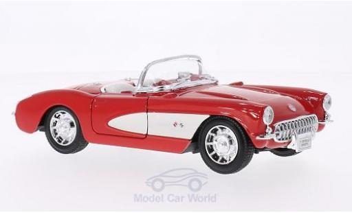 Chevrolet Corvette 1/24 Welly rouge/blanche 1957 miniature