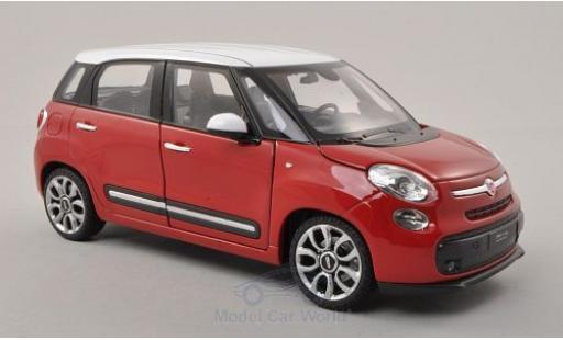 Fiat 500 1/24 Welly L red/white 2013 diecast model cars