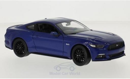 Ford Mustang 1/24 Welly GT metalico azul 2015 miniatura