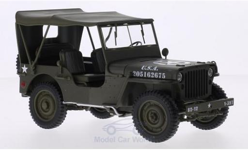 Jeep Willys 1/18 Welly matt-oliv U.S. Army geschlossen miniature