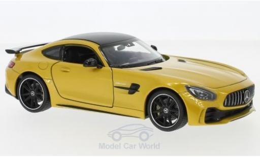 Mercedes AMG GT 1/24 Welly R metalico amarillo miniatura