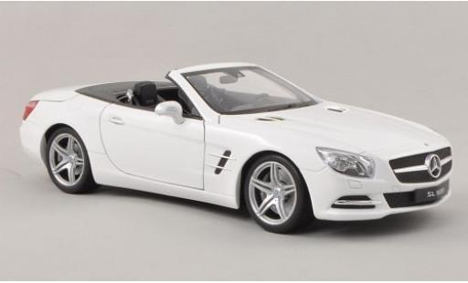 Mercedes Classe SL 1/18 Welly SL 500 (R231) metallise blanche 2012 Verdeck ouvert miniature