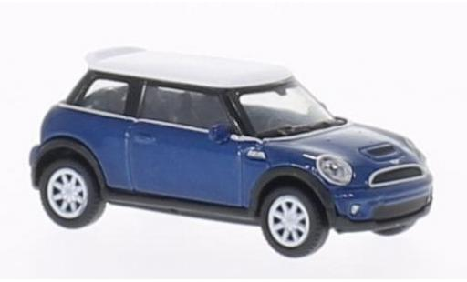 Mini Cooper 1/87 Welly S bleue/blanche miniature