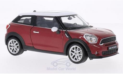 Mini Cooper 1/24 Welly S Paceman metallise rouge/blanche miniature