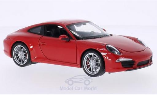 Porsche 991 S 1/18 Welly 911  Carrera red diecast model cars