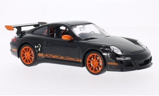 Porsche 997 GT3 RS 1/24 Welly 911  noire/orange miniature