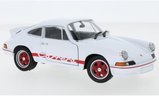 Porsche 911 RS 1/24 Welly Carrera 2.7 blanco/rojo 1973 coche miniatura