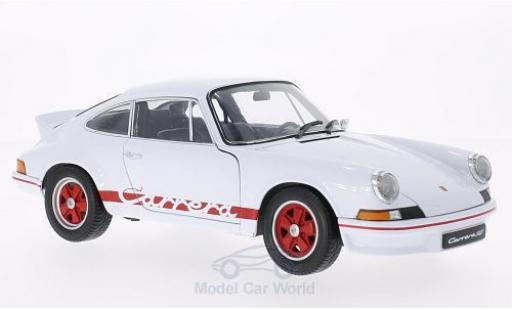 Porsche 911 RS 1/18 Welly Carrera blanco/rojo 1973 coche miniatura