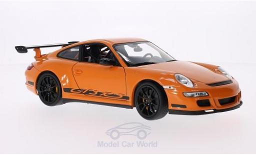 Porsche 997 GT3 RS 1/18 Welly 911  orange/Dekor miniature