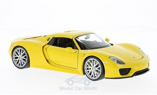 Porsche 918 1/24 Welly Spyder jaune miniature