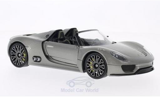 Porsche 918 1/24 Welly Spyder grise miniature