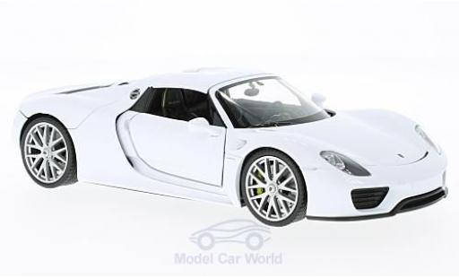 Porsche 918 1/24 Welly Spyder blanche geschlossen miniature