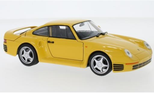 Porsche 959 1/24 Welly jaune miniature