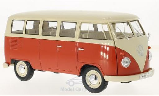 Volkswagen T1 1/18 Welly beige/rouge 1963 Bus miniature
