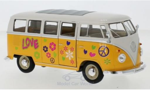 Volkswagen T1 1/24 Welly Bus yellow/white 1963 Flower Power diecast