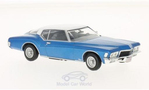 Buick Riviera 1/43 WhiteBox Coupe metallise bleue/blanche 1972 miniature