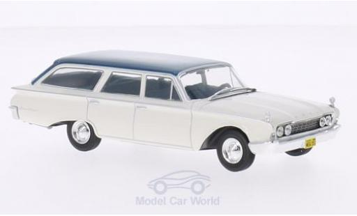 Ford Ranch Wagon 1/43 WhiteBox blanche/metallise turquoise 1960 miniature