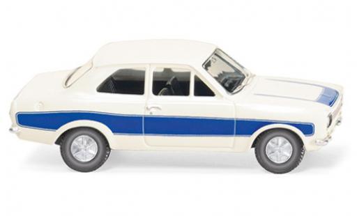 Ford Escort 1/87 Wiking MK I blanco/azul coche miniatura